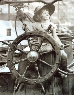 Ann at the wheel